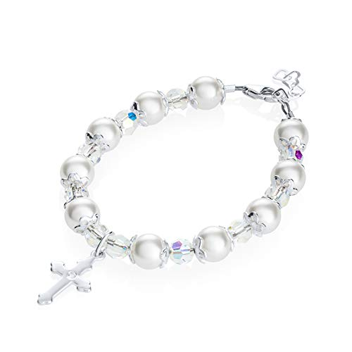 Delicate Sterling Silver Cross Charm Baby Bracelet - with White Swarovski Simulated Pearls, Crystals and Silver Spacer Beads - Best Baptism and Christening Gift for Girls and Boys - White Cross Pearl