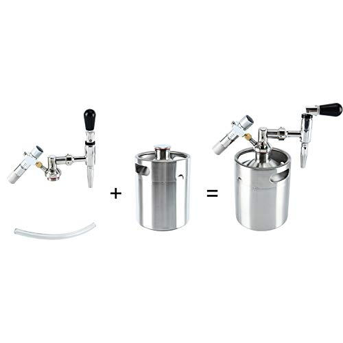 YaeBrew 64 Ounce Mini Stainless Steel Homebrew Coffee Keg System Kit, Nitro Cold Brew Coffee Maker 64 oz, Best Gift for Coffee Lovers DIY Updated by YaeBrew (Image #2)