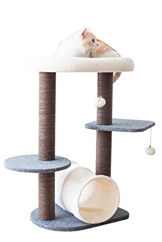 - PetPals Cat Tree Cat Tower for Activity with Tunnel and Toy Ball, Gray