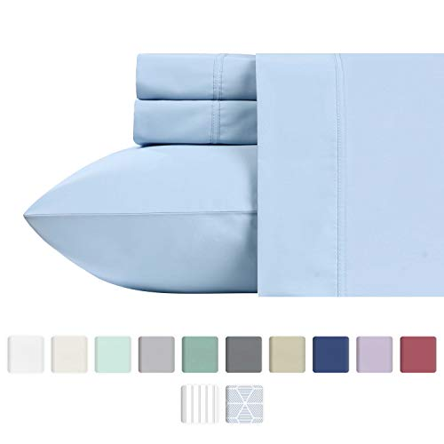 California Design Den 600 Thread Count Best Bed Sheets 100% Cotton Sheets Set - Long-Staple Cotton Sheet for Bed 4 Piece Set with Deep Pocket (Blue, Queen Sheet Set)