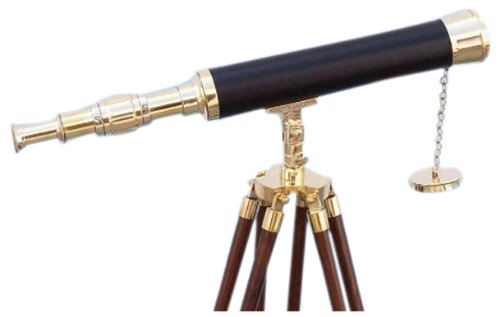 "Hampton Nautical  Floor Standing Brass/Leather Harbor Master Telescope, 42"", Brass"