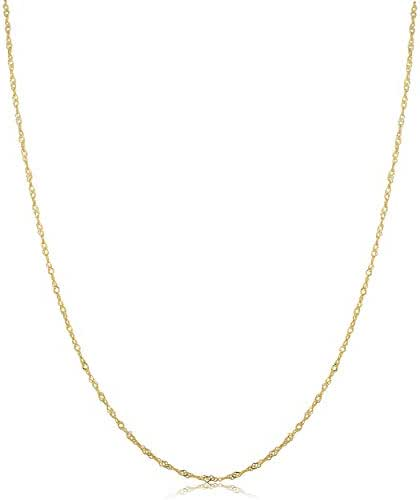 Kooljewelry 10k Yellow Gold Singapore Chain Necklace (0.7 mm, 1 mm, 1.4 mm, 1.7 mm)