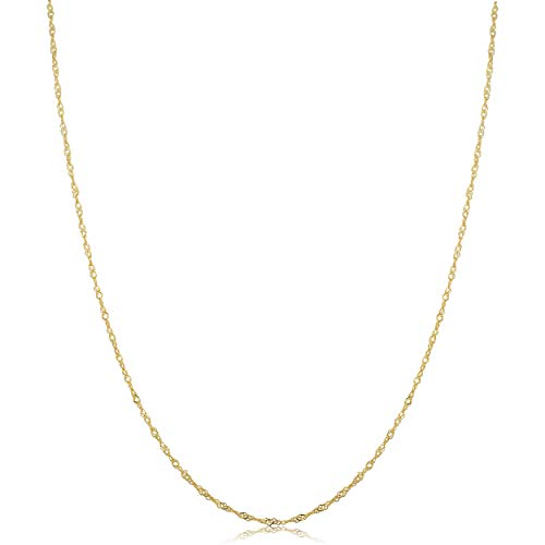 Kooljewelry 10k Yellow Gold 0.7 mm Dainty Singapore Chain Necklace (18 inch) 18k Yellow Gold Pin
