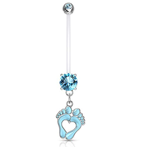 Pierced Owl Double Jeweled Heart Baby Feet Dangle Pregnancy Maternity Belly Button Ring Retainer (Blue)