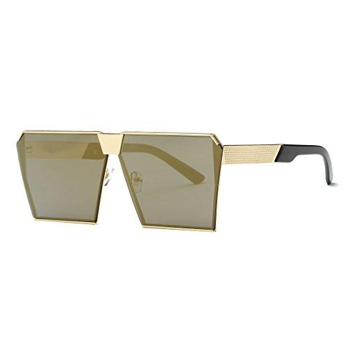 ffc9aa38c50 AEVOGUE Sunglasses For Men Square Oversized Metal Frame Brand Designer  AE0436 (Gold