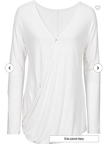 Mujer Camiseta Manga Larga En Imitación gris negro Crema Verde 95% Viscosa tamaño 32/34hasta 52/54Número 566 Weiß