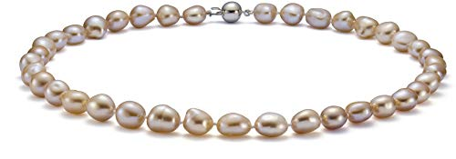 - Drop Pink 10-11mm Baroque Quality Freshwater 925 Sterling Silver Cultured Pearl Necklace For Women-18 in Princess length