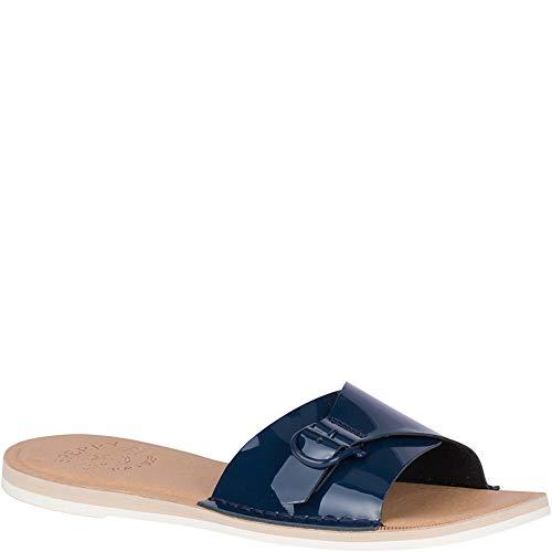 SPERRY Women's Seaport Slide Patent Sandal, Navy, 8.5