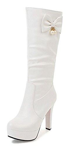 Plateforme Sexy Noeud Haute Femme Bottes Tige Aisun Blanc IxpwZqSq