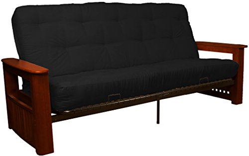 Chicago Storage Arm Style True 8-inch Loft Cotton/Foam Futon Sofa Sleeper Bed, Queen-size, Mahogany Arm Finish, Microfiber Suede Ebony Black Upholstery ()