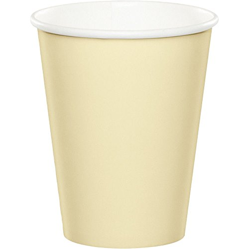 24Pcs Ivory Paper cups Wedding Birthday Party Tableware 9oz Paper Beverage Cups