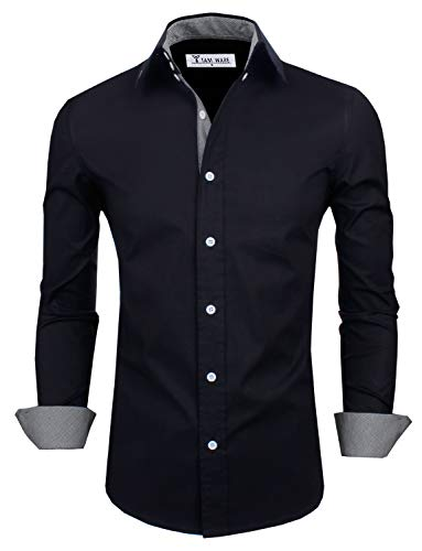 TAM WARE Mens Classic Slim Fit Contrast Inner Long Sleeve Dress Shirts TWNMS314-1-317-BLACK-US M