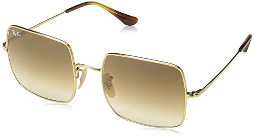 Ray-Ban RB1971 Square Classic Metal Sunglasses, Gold/Brown Gradient, 54 mm (Ray Ban Square)