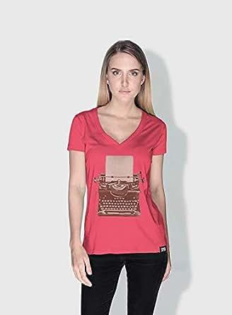 Creo Typewritter Retro T-Shirts For Women - M, Pink