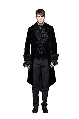 Devil Fashion Mens Steamunk Retro Tailcoat Jacket Fashion Red Velvet Gothic Performance Trench Coat