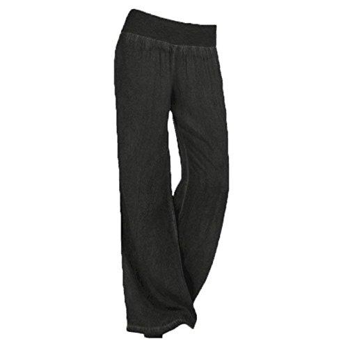 Pantaloni Larghi Donna Lunga Elegante Autunno Tempo Libero Pantaloni Pants Giovane Grazioso Baggy Fashion Accogliente Tendenza Cintura Elastica Base Women Nero