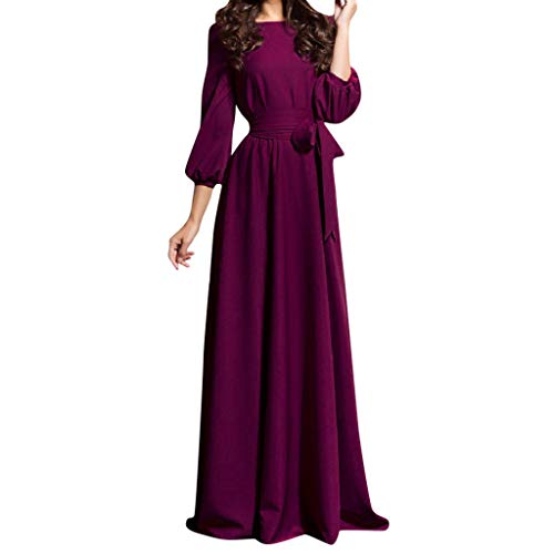 Women Summer Casual Party Dress Lantern Sleeve Solid Long Dresses with Belt Purple