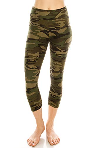 ALWAYS Women High Waisted Capri Camo Leggings - Premium Buttery Soft Stretch Solid Basic Yoga Workout Pants Army Print Regular