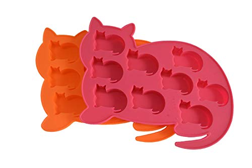 LYWOO Cat Shaped Silicone Ice Cube Molds and Tray, Set of 2