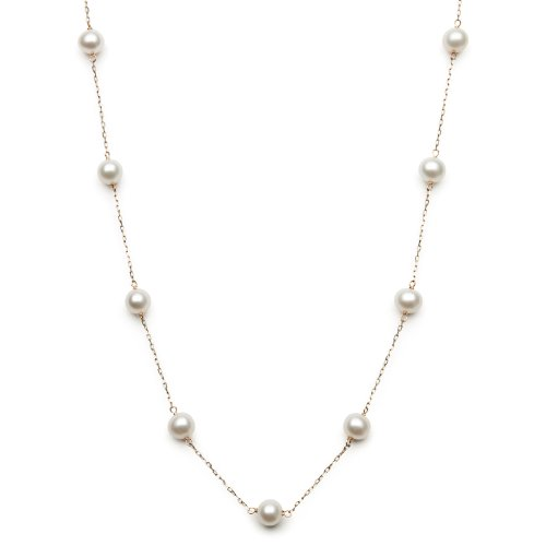 (10k Yellow Gold White Cultured Freshwater Pearl Chain Station Tin Cup Necklace,)
