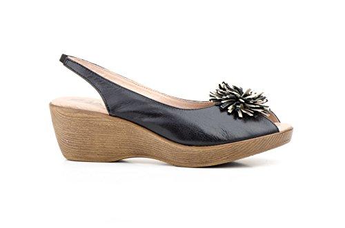 Conbuenpie by Jam - Zapato ancho especial con cuña cierre elastico color negro