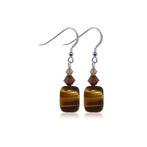 Gem Avenue Sterling Silver Tiger Eye Handmade Dangle Earrings with Swarovski Elements Crystal