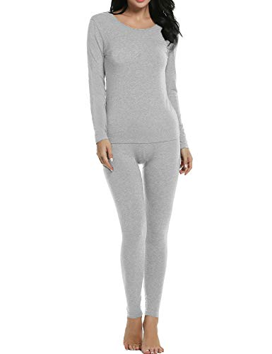 Ekouaer Thermal Sets Womens 2 Pcs Underwear Slimming Top & Bottom Pajama S-XXXL (XXX-Large, Light Gray)