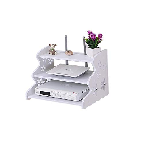 HAI+ Three-Layer White Floating Shelves Wall-Mounted WiFi Router TV Box Set-top Box Streaming Media Equipment (12.6, 9.5) ()