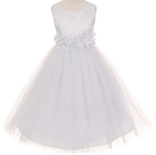 - Little Girls White Elegant Satin Tulle Ribbon Sash Flowers Girls Dresses White 4