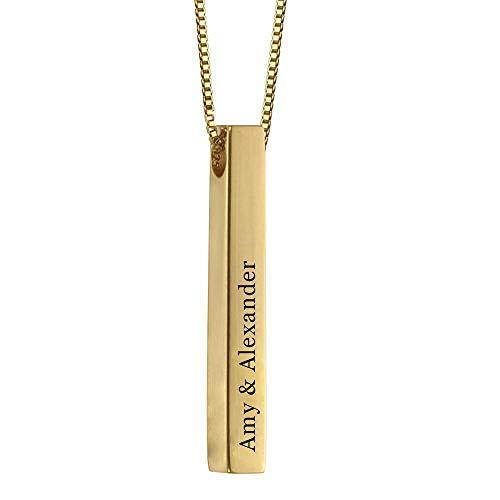 RESVIVI Sterling Silver 3D Engraved Personalized Bar Name Necklace Gold Plating Custom Made Any Name Pendant ()