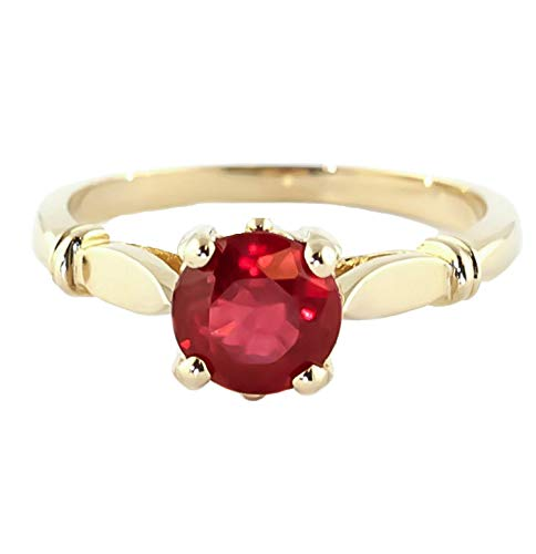 (18K Solid Yellow Gold Solitaire Natural Ruby Ring 2 caratS - 4581y.18K (8))