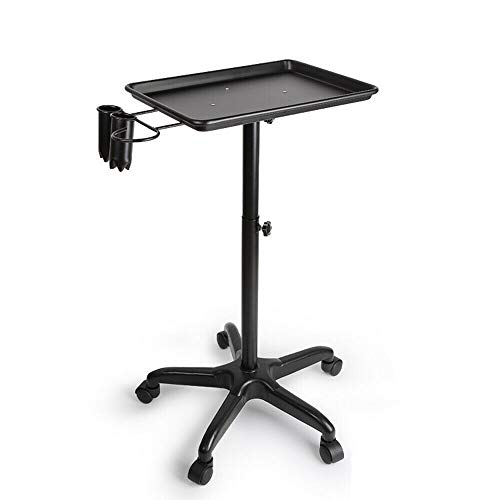Rolling Service Tray Mobile Salon Service Instrument Tray Trolley Salon Spa Beauty Tattoo Tray Cart Equipment Black/Silver (US STOCK) (Black)