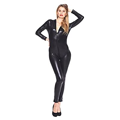 YiZYiF Women Faux Leather Wet Look Clubwear Bodysuit with Zipper Crotch