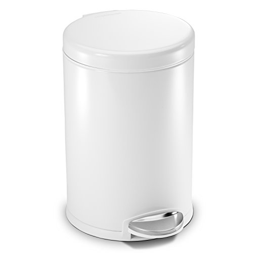 simplehuman 4.5 Liter / 1.2 Gallon Compact Stainless Steel Round Bathroom trash Can, White Metal (White Pedal Bin)