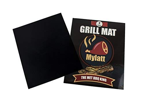Mylatt Non-Stick Grill & BBQ Mat: 2-Pack BPA-Free Bbq Mat/ Oven Liner - Durable, Easy To Clean 13''X15.7'' Teflon Mats w/ Cookbook & Instructions For Oven, Grill, BBQ, Gas, Charcoal & Electric Cooker