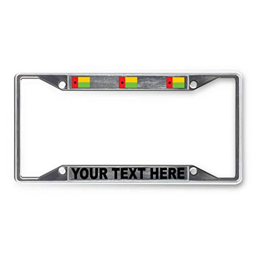 Ralally Custom Text Personlized Guinea-Bissau Country Flag Metal License Plate Frame Transparent Insert Car Auto Tag Holder - Chrome 4 Holes