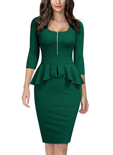 Miusol Women's Retro Square Neck Ruffle Style Slim Business Pencil Dress,Medium,Dark Green