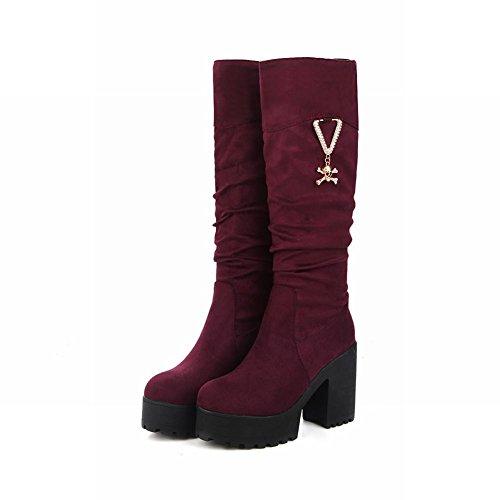 Mee Shoes Damen chunky heels Plateau Nubukleder Stiefel Rot