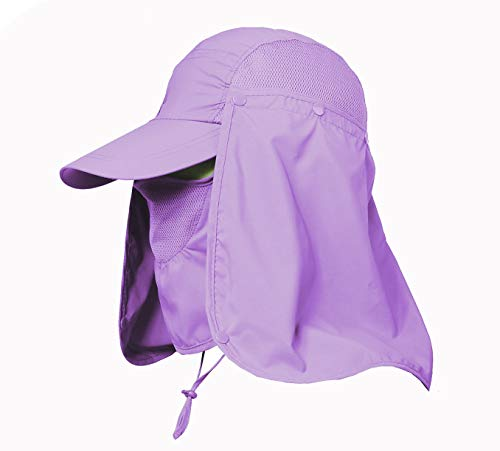 Jormatt Women & Men Outdoor Sun Hat Fishing Hiking Running Gardening Hat with Face Neck Flap Protection Cover Removable Summer UPF 50+ Folding UV Sun Cap,Purple