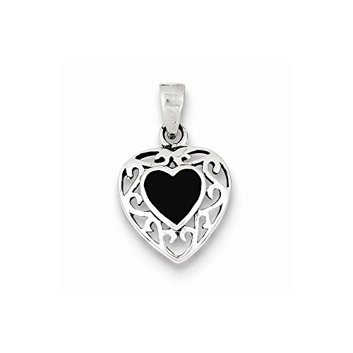 (Sterling Silver Onyx Heart Antiqued Pendant)