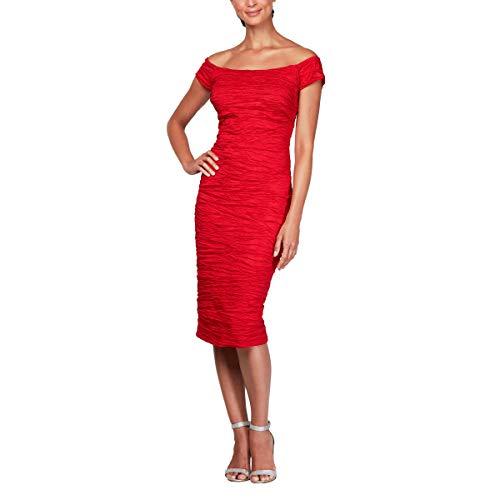 - Alex Evenings Women's Plus Size Midi Off-The-Shoulder Stretch Taffeta Sheath Dress, red, 14W