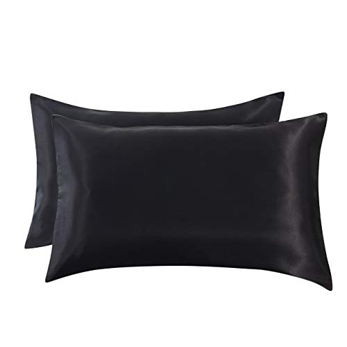 Ethlomoer 2-Pack Luxury Smooth Satin Pillowcase for Hair and Skin, Soft Breathable with Envelope Closure (Black King)