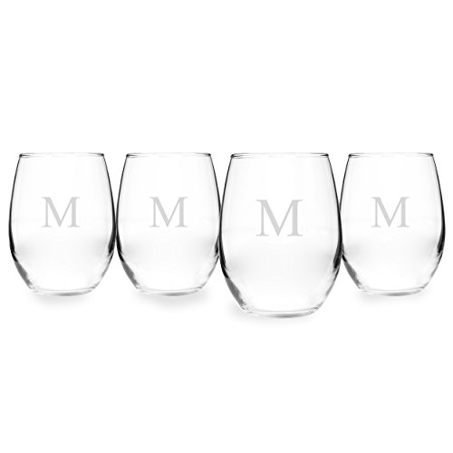 Cathy's Concepts Personalized 21 oz. Stemless White Wine Glasses, Set of 4, Letter - Wine Monogrammed Red