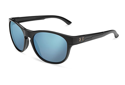 Under Armour UA Glimpse RL Round Sunglasses, UA Glimpse RL Satin Black / Blue Mirror, 55 mm by Under Armour