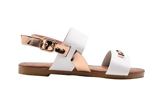 bebe Girls Fashion Sandals 4 M US Big Kid Double Band Summer Slingback Flats White/Gold