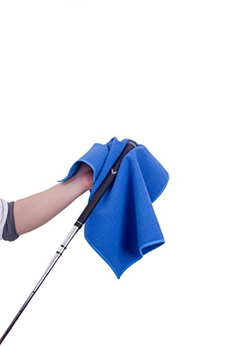 Microfiber Deep Waffle Weave Golf Towel 2 pack,Light Weight & Quick Drying. Best for Cleaning all types of Clubs, Irons & Drivers.(Blue & Gray 16''x21'') by DVlente (Image #6)