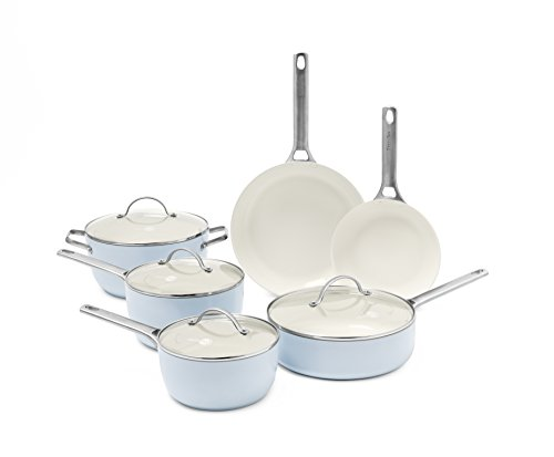 (GreenPan Padova Ceramic Non-Stick 10Pc Cookware Set, Light Blue)