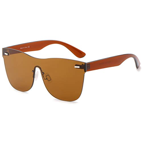 Rimless Mirrored Lens One Piece Sunglasses UV400 Protection for Women Men(Brown)