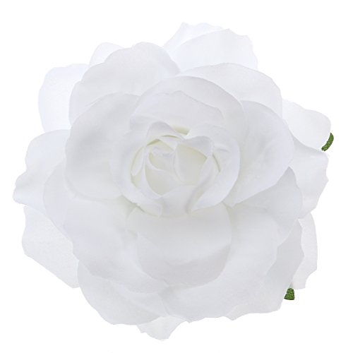 Frcolor Artificial Big Rose Flower Hairpin Hair Clips Flower Brooch for Women Party (White)
