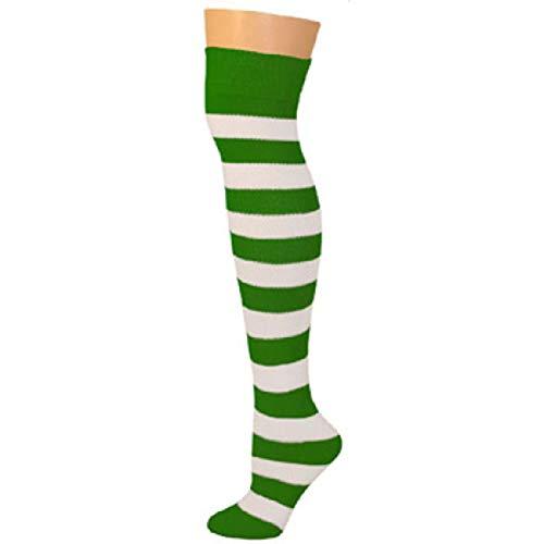 (AJs Knee High Striped Socks - Kelly/White )